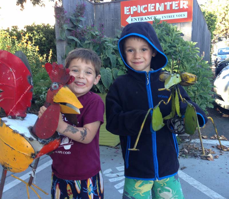 Epicenter customers with garden art animals