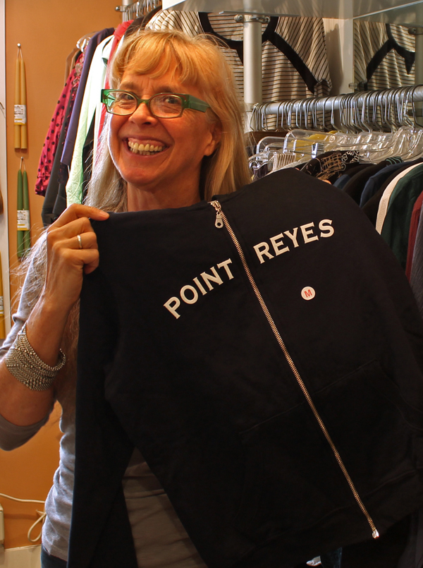 Dana with Point Reyes hoodie, Epicenter