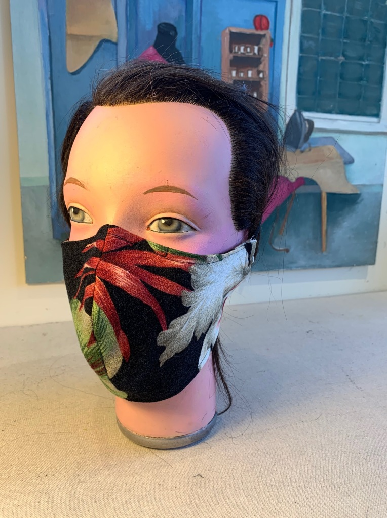 Black Vintage Hawaiian Orchid mask